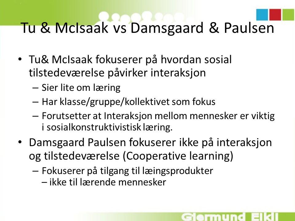 Tu & McIsaak vs Damsgaard & Paulsen Tu& McIsaak fokuserer på hvordan sosial tilstedeværelse påvirker interaksjon – Sier lite om læring – Har klasse/gr