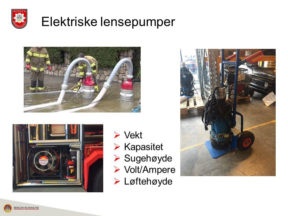 Elektriske lensepumper  Vekt  Kapasitet  Sugehøyde  Volt/Ampere  Løftehøyde