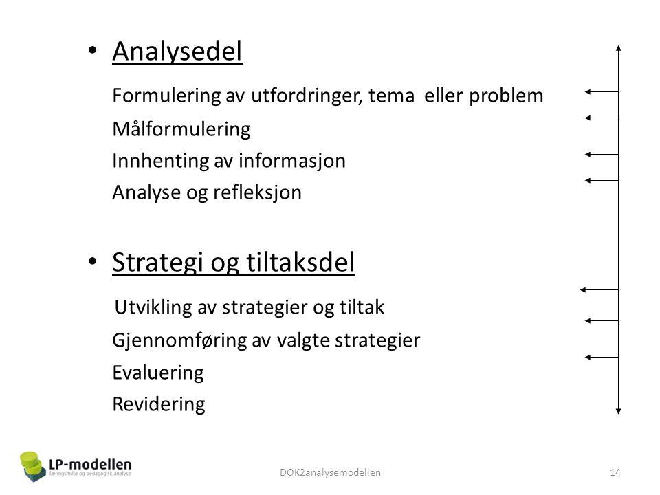 Analysedel Formulering av utfordringer, tema eller problem Målformulering Innhenting av informasjon Analyse og refleksjon Strategi og tiltaksdel Utvikling av strategier og tiltak Gjennomføring av valgte strategier Evaluering Revidering 14DOK2analysemodellen