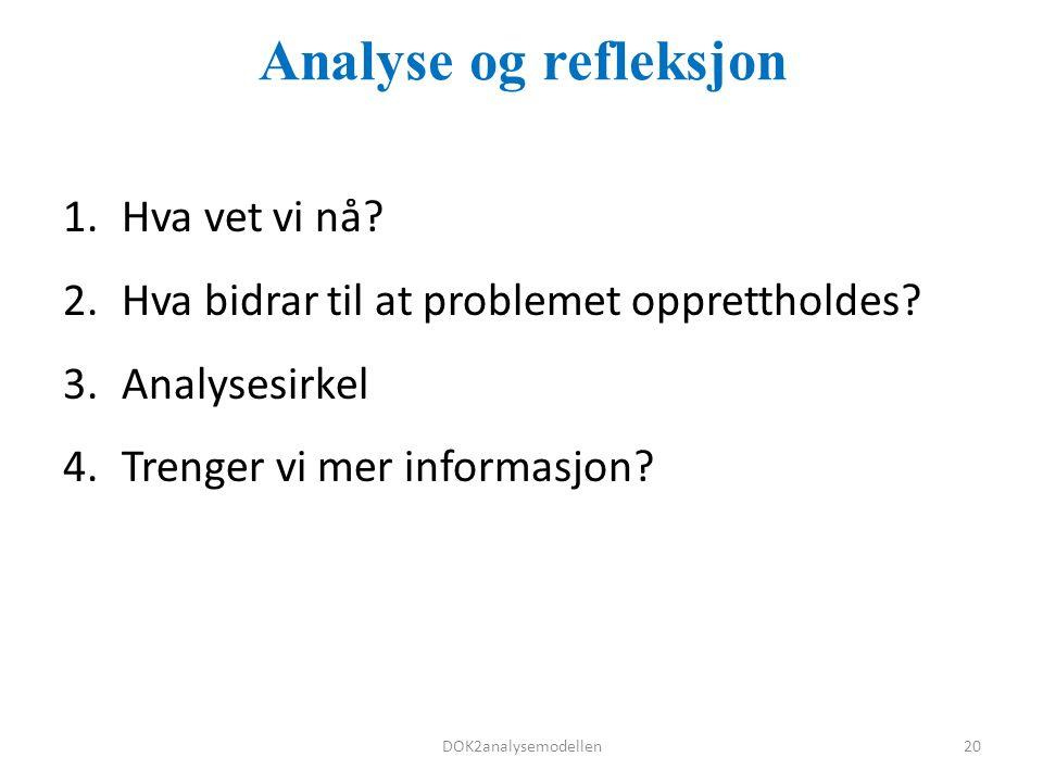 Analyse og refleksjon 1.Hva vet vi nå. 2.Hva bidrar til at problemet opprettholdes.
