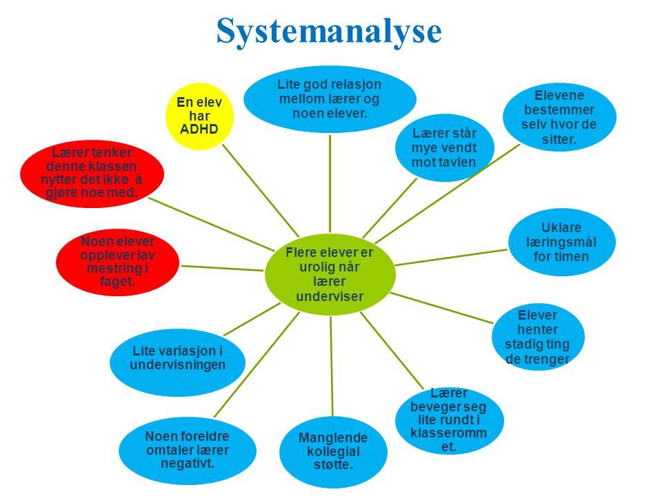 Systemanalyse Flere elever er urolig når lærer underviser Lite god relasjon mellom lærer og noen elever.