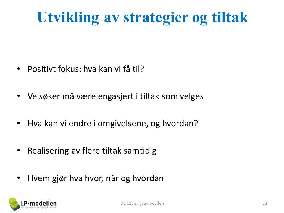 Utvikling av strategier og tiltak Positivt fokus: hva kan vi få til.
