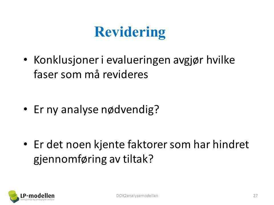 Revidering Konklusjoner i evalueringen avgjør hvilke faser som må revideres Er ny analyse nødvendig.