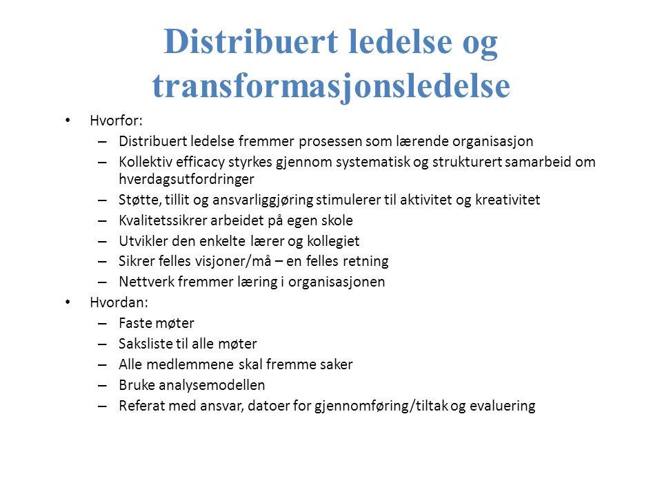 Distribuert ledelse og transformasjonsledelse Hvorfor: – Distribuert ledelse fremmer prosessen som lærende organisasjon – Kollektiv efficacy styrkes gjennom systematisk og strukturert samarbeid om hverdagsutfordringer – Støtte, tillit og ansvarliggjøring stimulerer til aktivitet og kreativitet – Kvalitetssikrer arbeidet på egen skole – Utvikler den enkelte lærer og kollegiet – Sikrer felles visjoner/må – en felles retning – Nettverk fremmer læring i organisasjonen Hvordan: – Faste møter – Saksliste til alle møter – Alle medlemmene skal fremme saker – Bruke analysemodellen – Referat med ansvar, datoer for gjennomføring/tiltak og evaluering Hanne Jahnsen 2012