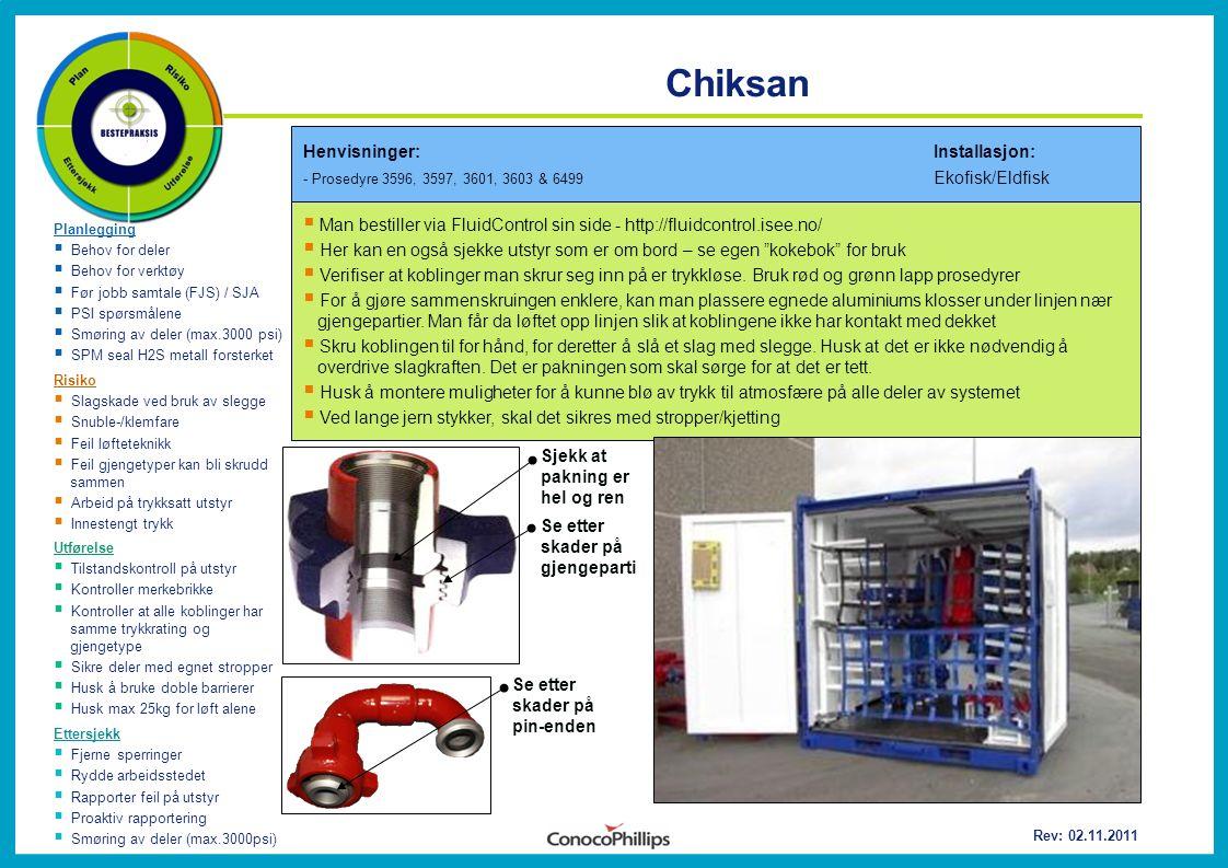 Chiksan Planlegging  Behov for deler  Behov for verktøy  Før jobb samtale (FJS) / SJA  PSI spørsmålene  Smøring av deler (max.3000 psi)  SPM sea