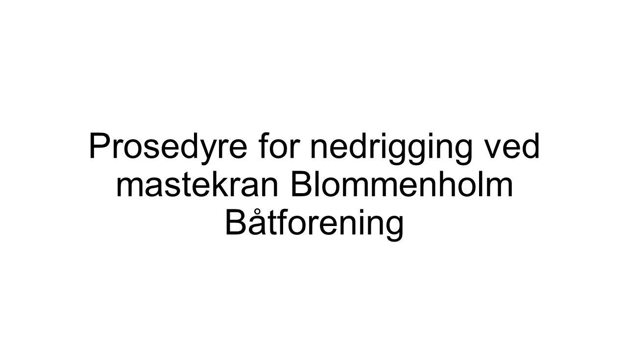 Prosedyre for nedrigging ved mastekran Blommenholm Båtforening