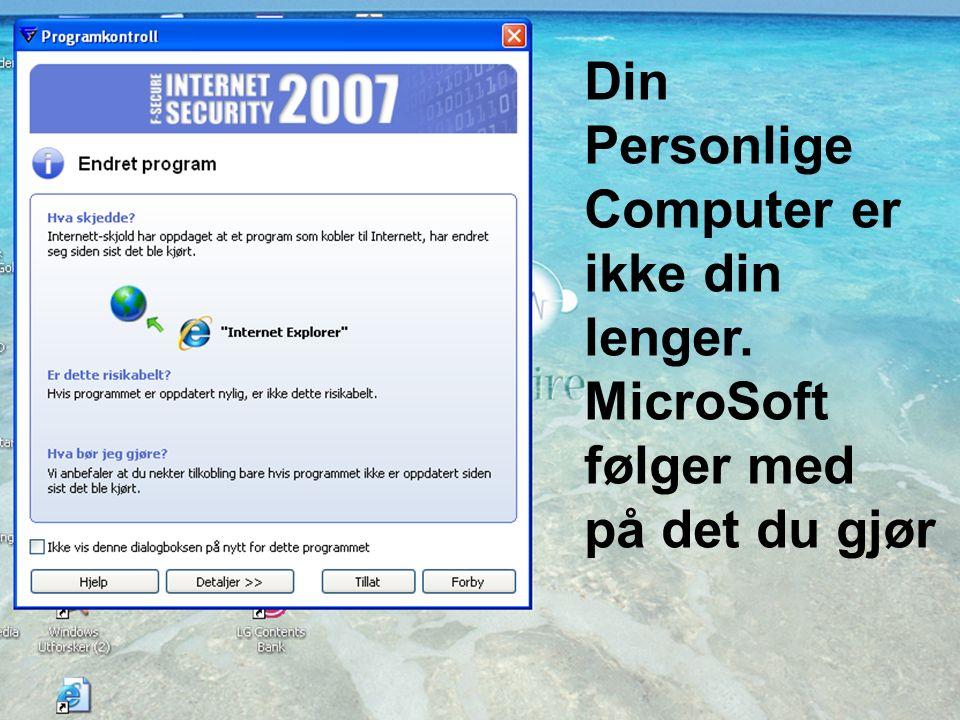 20.3.2007Annikken.Seip@Kredittilsynet.no15 Din Personlige Computer er ikke din lenger.