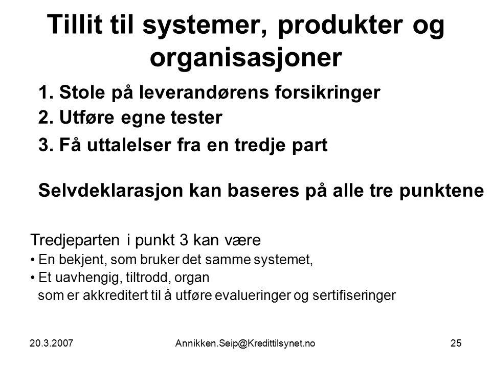 20.3.2007Annikken.Seip@Kredittilsynet.no25 Tillit til systemer, produkter og organisasjoner 1.