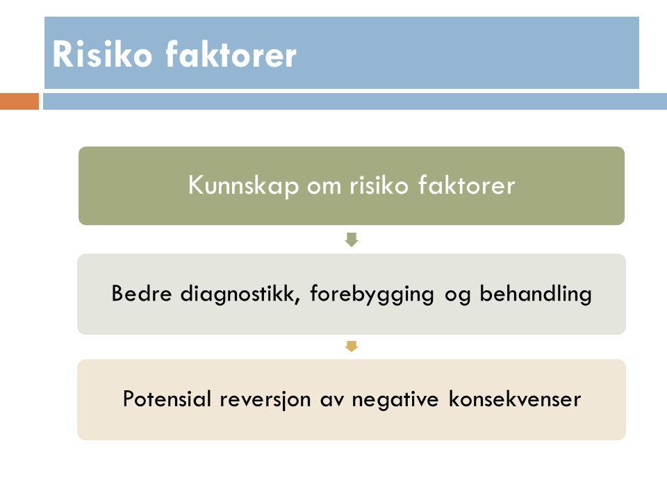 Kunnskap om risiko faktorer Bedre diagnostikk, forebygging og behandlingPotensial reversjon av negative konsekvenser