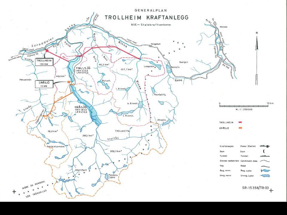 Skader og ulemper oppstrøms Trollheim kraftverk (13 km) Redusert produksjonsareal for ungfisk og bunndyr på elvestrekningen med omfattende fraføring av vann.