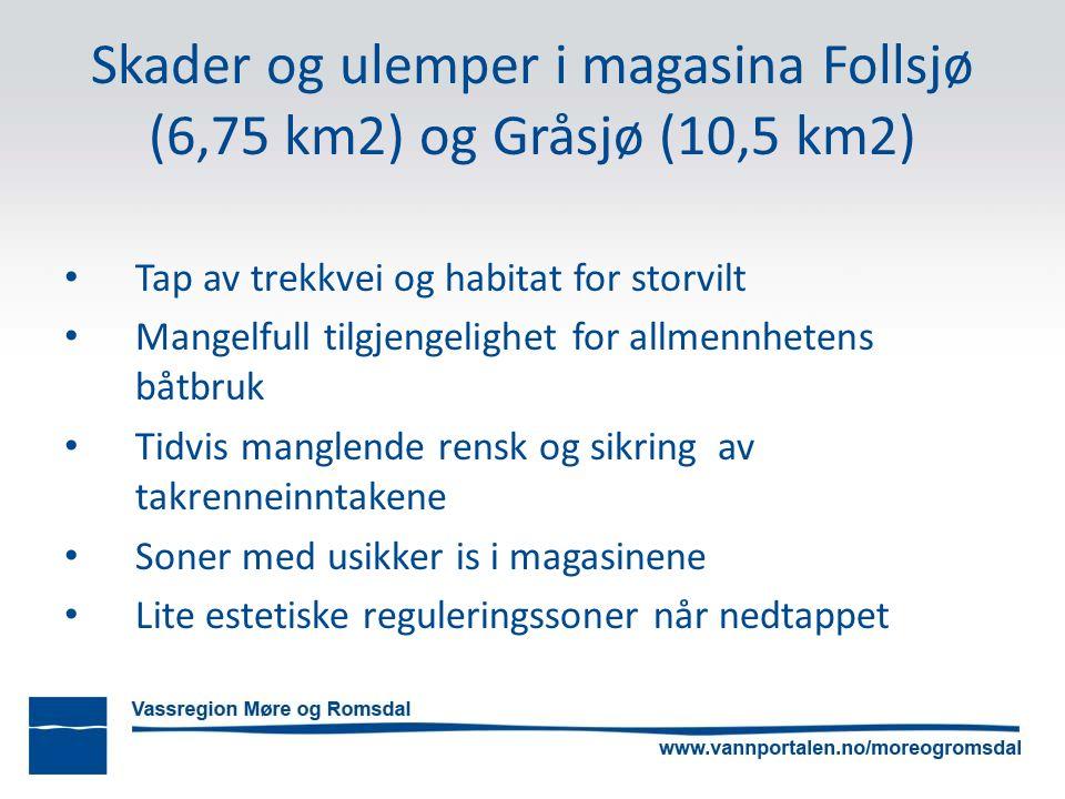 Skader og ulemper i magasina Follsjø (6,75 km2) og Gråsjø (10,5 km2) Tap av trekkvei og habitat for storvilt Mangelfull tilgjengelighet for allmennhetens båtbruk Tidvis manglende rensk og sikring av takrenneinntakene Soner med usikker is i magasinene Lite estetiske reguleringssoner når nedtappet