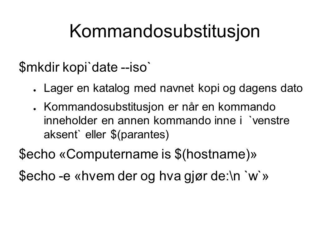 Root - superuser $sudo kommando ● Kjører kommandoen som root $sudo su ● Blir root, får # i prompten $sudo -ll ● Viser hvilke kommandoer en kan kjøre som sudo