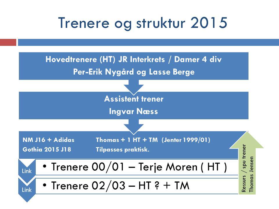 Trenere og struktur 2015 NM J16 + Adidas Thomas + 1 HT + TM (Jenter 1999/01) Gothia 2015 J18Tilpasses praktisk.