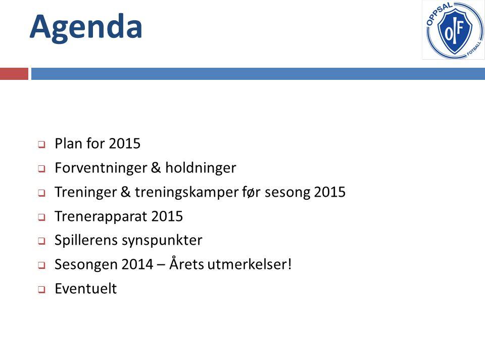 Agenda  Plan for 2015  Forventninger & holdninger  Treninger & treningskamper før sesong 2015  Trenerapparat 2015  Spillerens synspunkter  Sesongen 2014 – Årets utmerkelser.