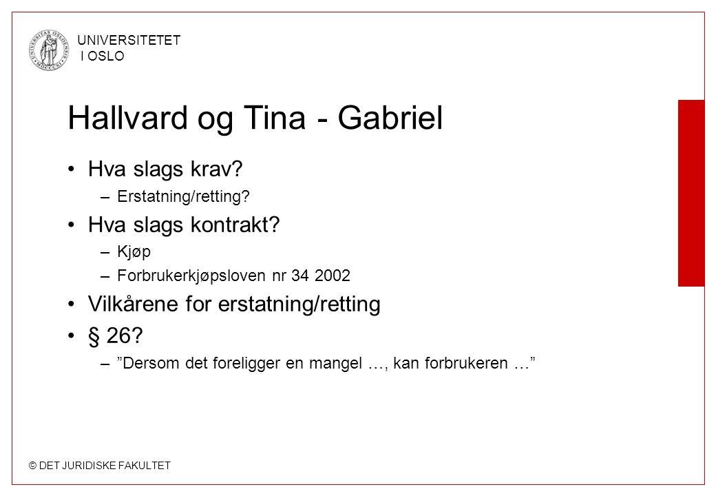 © DET JURIDISKE FAKULTET UNIVERSITETET I OSLO Hallvard og Tina - Gabriel Hva slags krav.