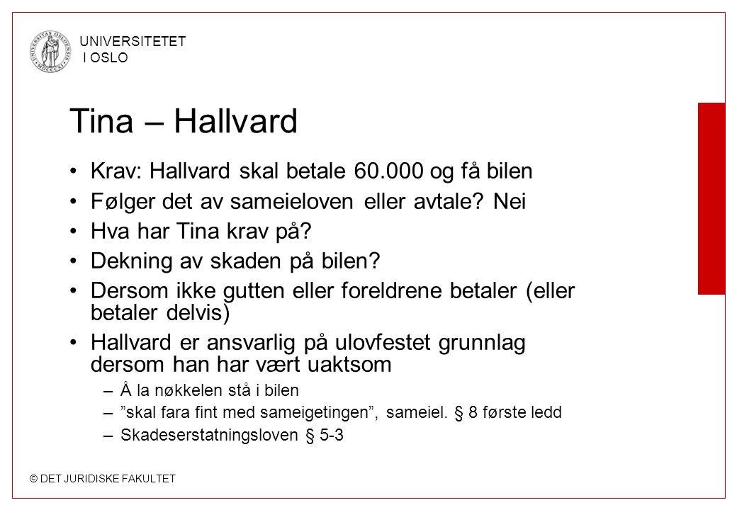 © DET JURIDISKE FAKULTET UNIVERSITETET I OSLO Tina – Hallvard Krav: Hallvard skal betale 60.000 og få bilen Følger det av sameieloven eller avtale.