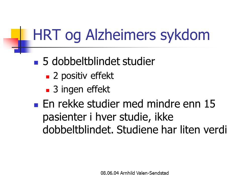 08.06.04 Arnhild Valen-Sendstad HRT og Alzheimers sykdom 5 dobbeltblindet studier 2 positiv effekt 3 ingen effekt En rekke studier med mindre enn 15 pasienter i hver studie, ikke dobbeltblindet.