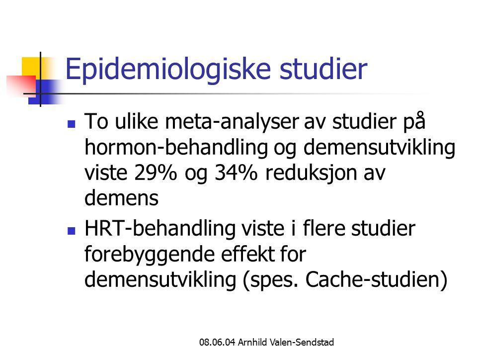 08.06.04 Arnhild Valen-Sendstad Epidemiologiske studier To ulike meta-analyser av studier på hormon-behandling og demensutvikling viste 29% og 34% reduksjon av demens HRT-behandling viste i flere studier forebyggende effekt for demensutvikling (spes.