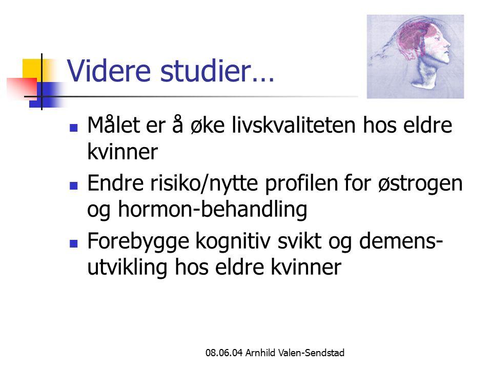 08.06.04 Arnhild Valen-Sendstad Videre studier… Målet er å øke livskvaliteten hos eldre kvinner Endre risiko/nytte profilen for østrogen og hormon-beh