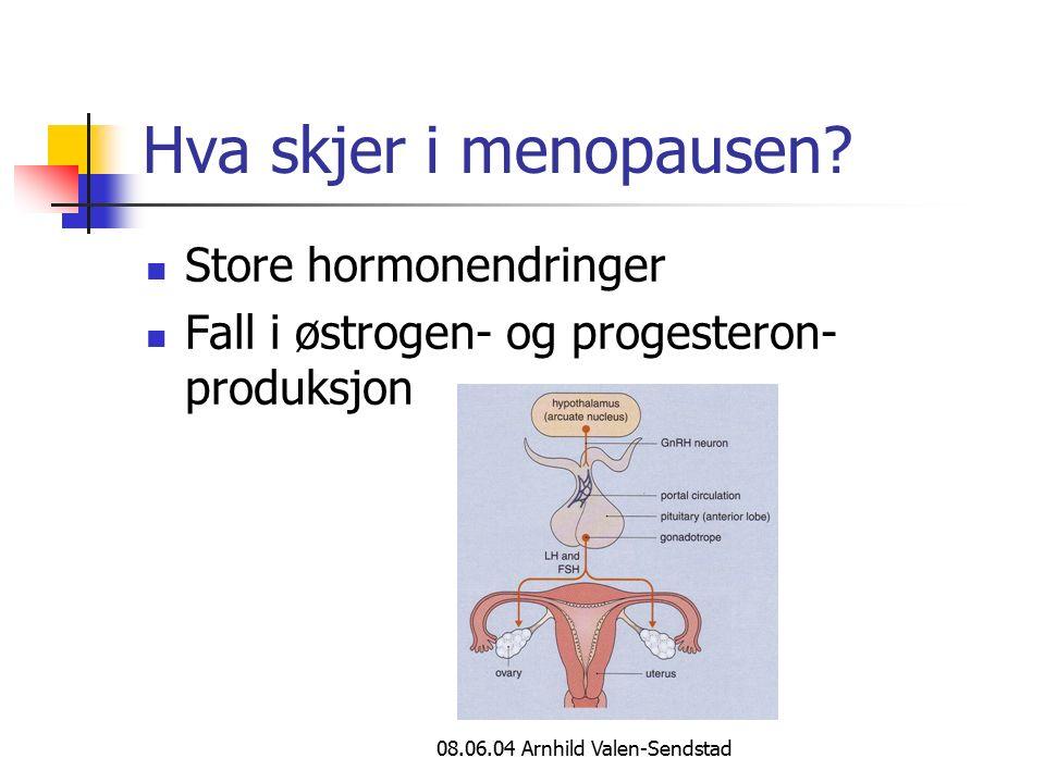 08.06.04 Arnhild Valen-Sendstad Hva skjer i menopausen? Store hormonendringer Fall i østrogen- og progesteron- produksjon