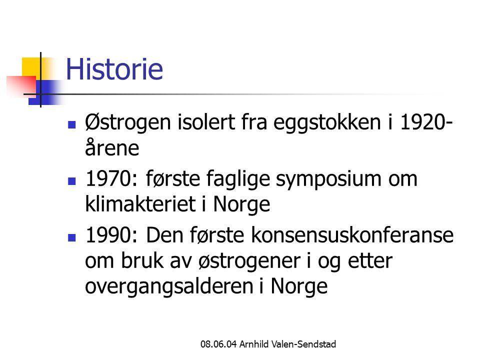 08.06.04 Arnhild Valen-Sendstad Historie Østrogen isolert fra eggstokken i 1920- årene 1970: første faglige symposium om klimakteriet i Norge 1990: Den første konsensuskonferanse om bruk av østrogener i og etter overgangsalderen i Norge