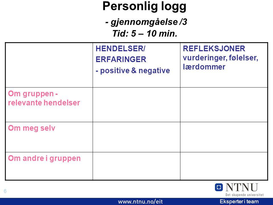 6 EiT 2006/2007 Eksperter i team Personlig logg - gjennomgåelse /3 Tid: 5 – 10 min.