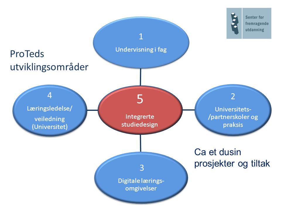 5 Integrerte studiedesign 1 Undervisning i fag 2 Universitets- /partnerskoler og praksis 3 Digitale lærings- omgivelser 4 Læringsledelse/ veiledning (Universitet) ProTeds utviklingsområder Ca et dusin prosjekter og tiltak