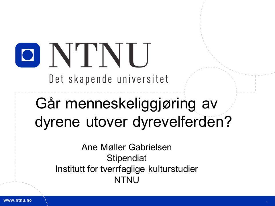 1 Går menneskeliggjøring av dyrene utover dyrevelferden? Ane Møller Gabrielsen Stipendiat Institutt for tverrfaglige kulturstudier NTNU.