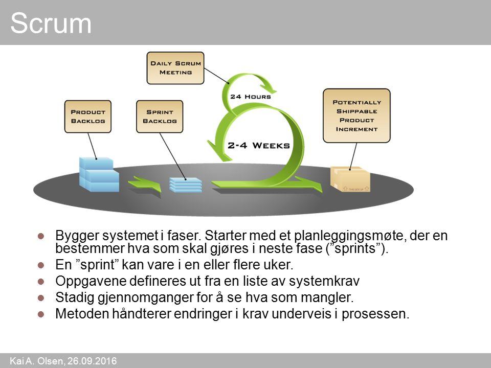 Kai A. Olsen, 26.09.2016 10 Scrum Bygger systemet i faser.