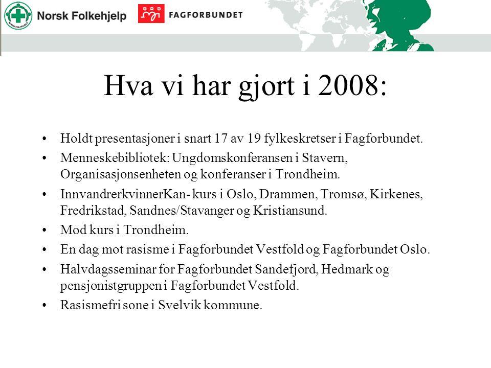 Hva vi har gjort i 2008: Holdt presentasjoner i snart 17 av 19 fylkeskretser i Fagforbundet. Menneskebibliotek: Ungdomskonferansen i Stavern, Organisa