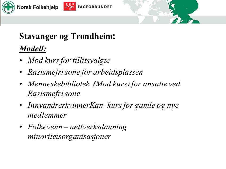 Stavanger og Trondheim : Modell: Mod kurs for tillitsvalgte Rasismefri sone for arbeidsplassen Menneskebibliotek (Mod kurs) for ansatte ved Rasismefri