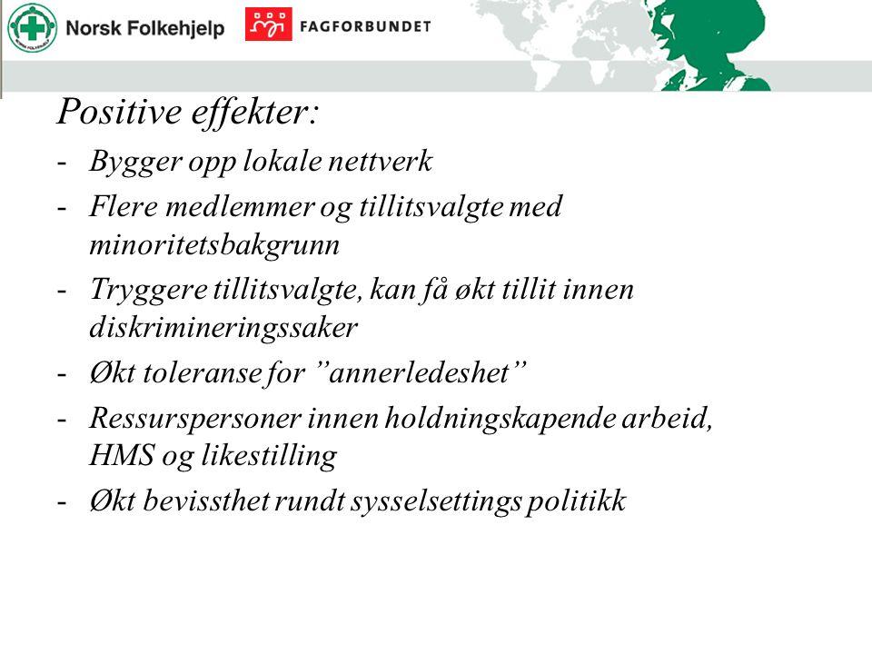 Positive effekter: -Bygger opp lokale nettverk -Flere medlemmer og tillitsvalgte med minoritetsbakgrunn -Tryggere tillitsvalgte, kan få økt tillit inn
