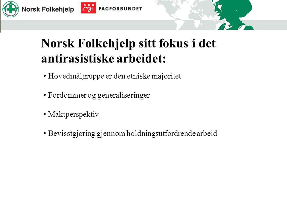 Norsk Folkehjelp sitt fokus i det antirasistiske arbeidet: Hovedmålgruppe er den etniske majoritet Fordommer og generaliseringer Maktperspektiv Bevisstgjøring gjennom holdningsutfordrende arbeid