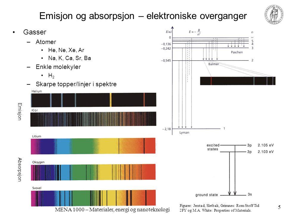 MENA 1000 – Materialer, energi og nanoteknologi Emisjon og absorpsjon – elektroniske overganger, forts.