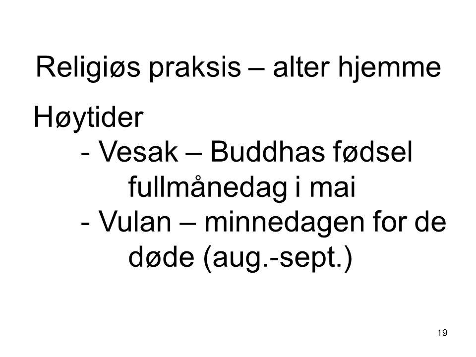 19 Religiøs praksis – alter hjemme Høytider - Vesak – Buddhas fødsel fullmånedag i mai - Vulan – minnedagen for de døde (aug.-sept.)