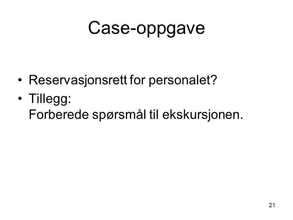 21 Case-oppgave Reservasjonsrett for personalet? Tillegg: Forberede spørsmål til ekskursjonen.