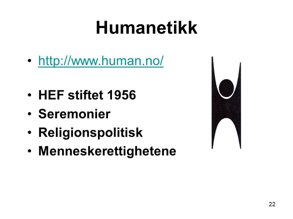 22 Humanetikk http://www.human.no/ HEF stiftet 1956 Seremonier Religionspolitisk Menneskerettighetene