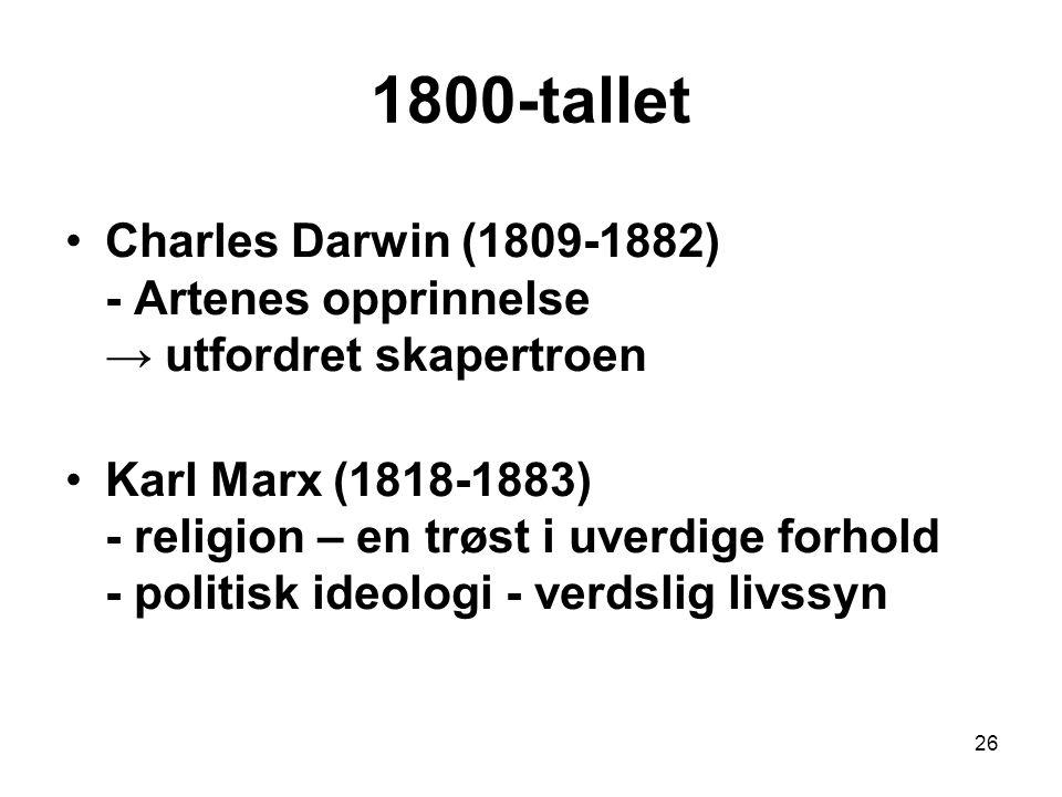 26 Charles Darwin (1809-1882) - Artenes opprinnelse → utfordret skapertroen Karl Marx (1818-1883) - religion – en trøst i uverdige forhold - politisk ideologi - verdslig livssyn 1800-tallet
