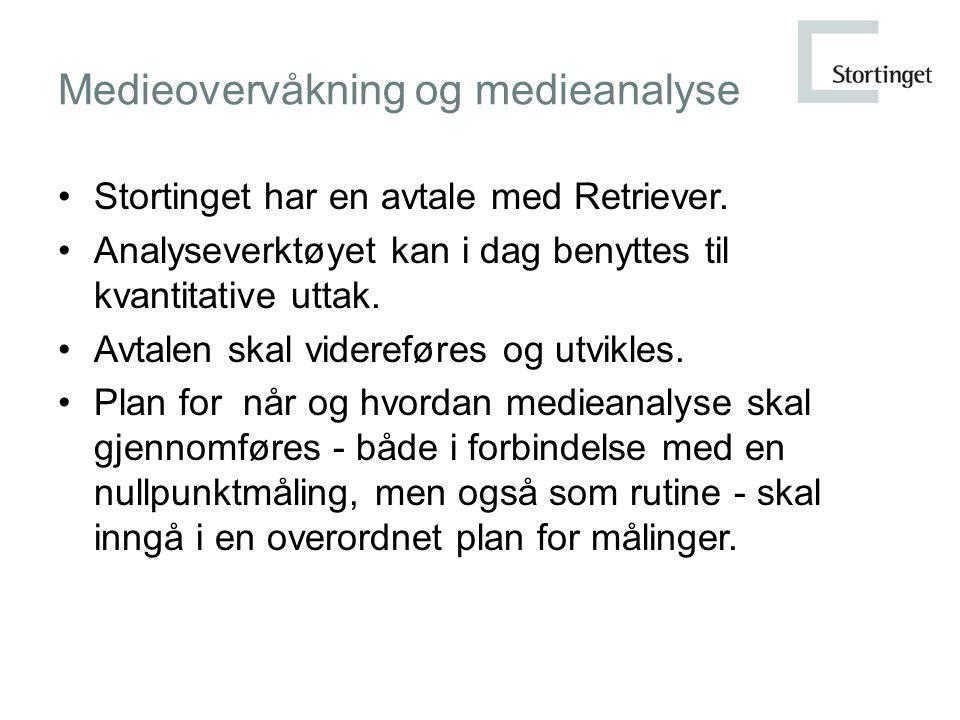 Medieovervåkning og medieanalyse Stortinget har en avtale med Retriever.