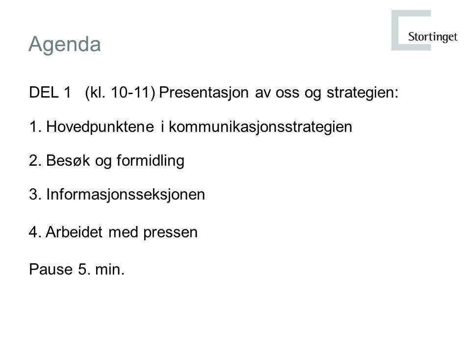 Agenda DEL 1 (kl. 10-11) Presentasjon av oss og strategien: 1.