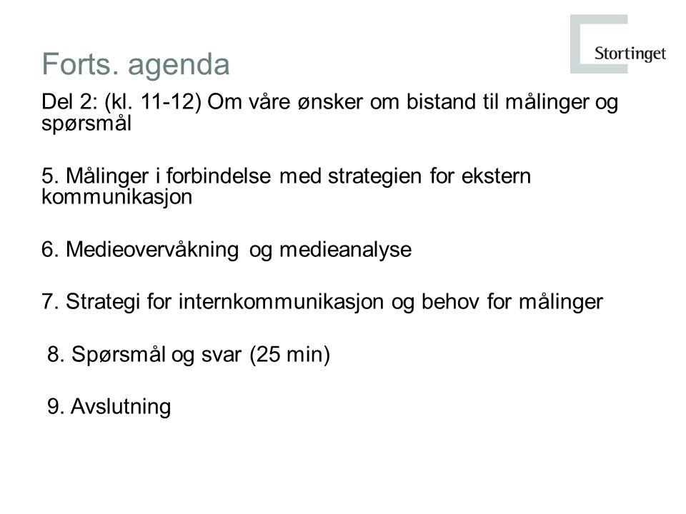 Forts. agenda Del 2: (kl. 11-12) Om våre ønsker om bistand til målinger og spørsmål 5.