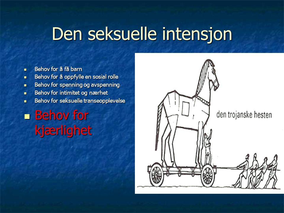 Den seksuelle intensjon Behov for å få barn Behov for å få barn Behov for å oppfylle en sosial rolle Behov for å oppfylle en sosial rolle Behov for sp