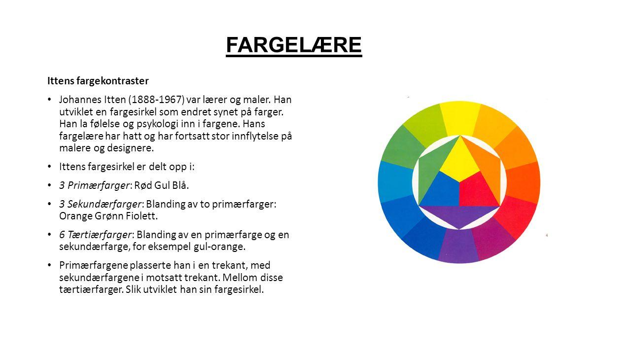 FARGELÆRE Ittens fargekontraster Johannes Itten (1888-1967) var lærer og maler.