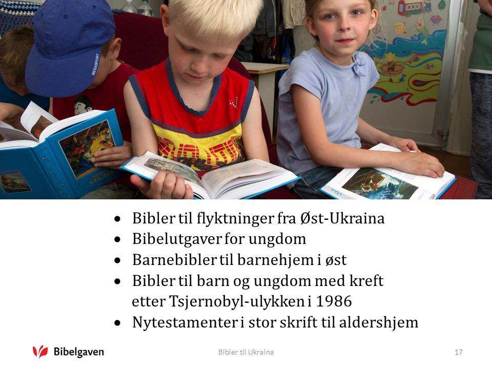 Bibler til Ukraina17  Bibler til flyktninger fra Øst-Ukraina  Bibelutgaver for ungdom  Barnebibler til barnehjem i øst  Bibler til barn og ungdom