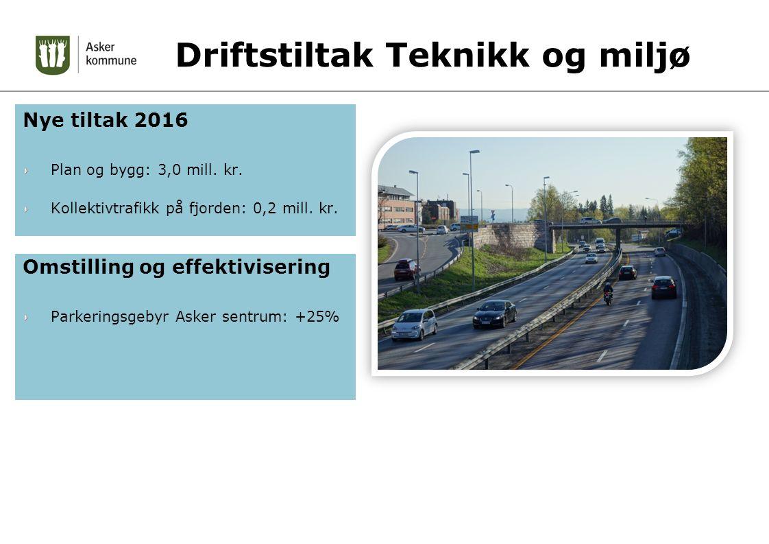 Driftstiltak Teknikk og miljø Nye tiltak 2016 Plan og bygg: 3,0 mill.