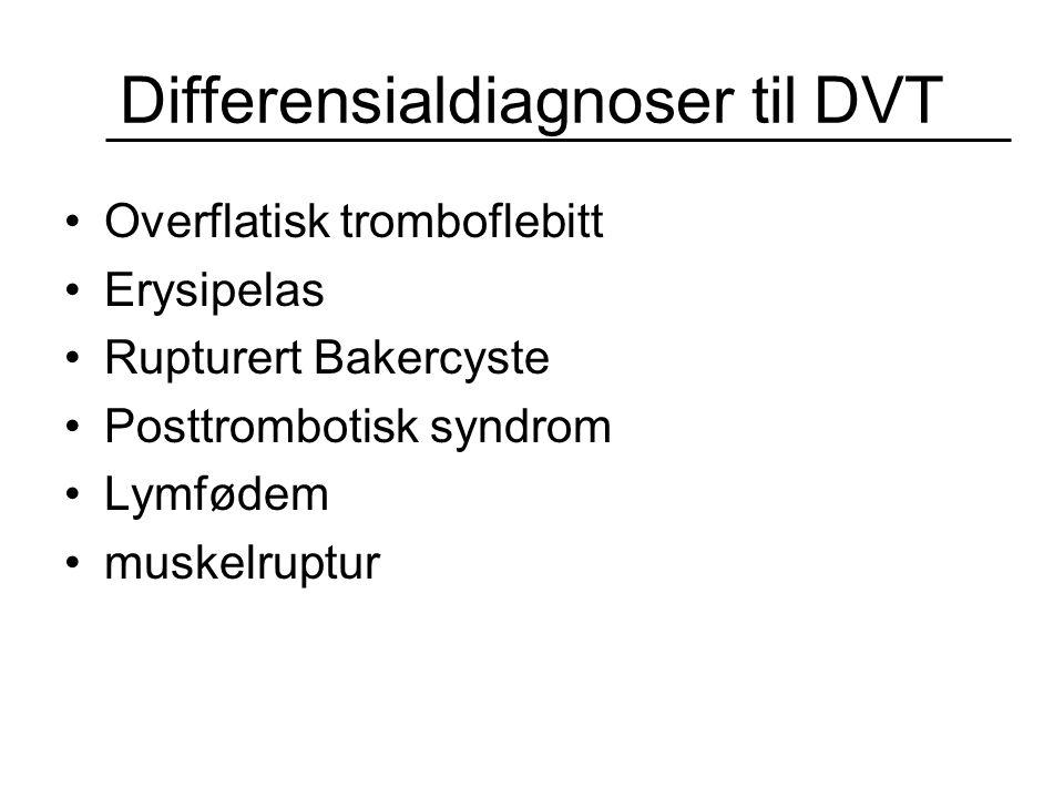 Differensialdiagnoser til DVT Overflatisk tromboflebitt Erysipelas Rupturert Bakercyste Posttrombotisk syndrom Lymfødem muskelruptur