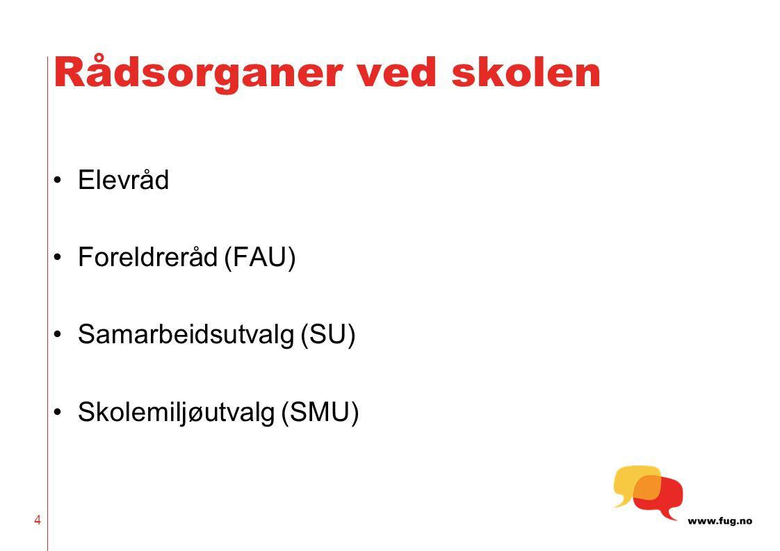 4 Rådsorganer ved skolen Elevråd Foreldreråd (FAU) Samarbeidsutvalg (SU) Skolemiljøutvalg (SMU)