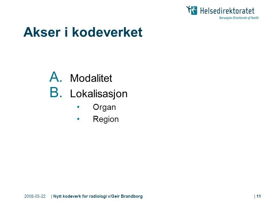 2008-05-22| Nytt kodeverk for radiologi v/Geir Brandborg| 11 Akser i kodeverket A.