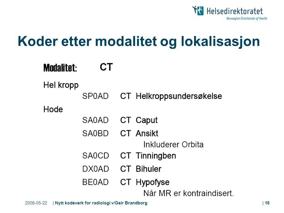 2008-05-22| Nytt kodeverk for radiologi v/Geir Brandborg| 16 Koder etter modalitet og lokalisasjon