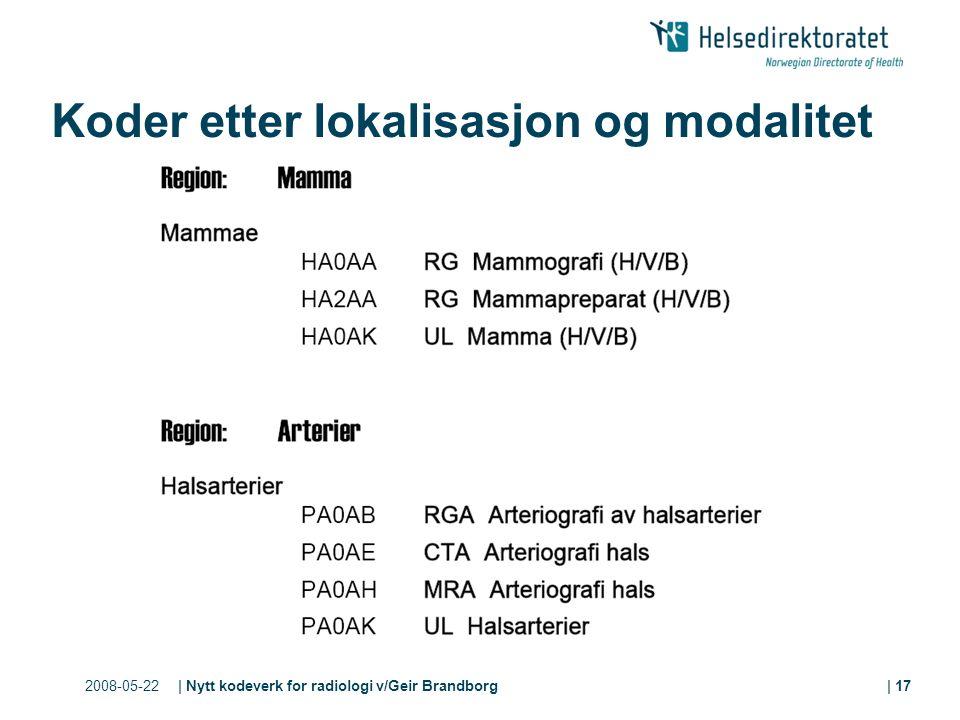 2008-05-22| Nytt kodeverk for radiologi v/Geir Brandborg| 17 Koder etter lokalisasjon og modalitet